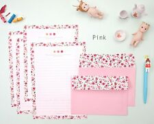 Lovely Flower Pattern 4 Writing Papers & 2 Envelopes Letter Set / Pink