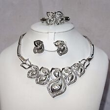 Quality Beautiful Leaf Design Silver Wedding Party Bridal Necklace Jewellery Set