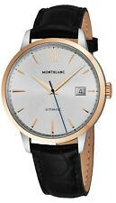 Mont Blanc Men's Heritage Spirt Date Black Leather Strap Automatic Watch 111624