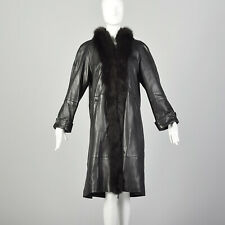M Black Swing Coat Leather Fox Fur Collar Tuxedo Trim Longer Length Jacket VTG