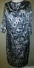 Rebecca Moses Black Gray White 100%Silk L-Xl Dress