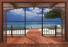 388x270cm Giant Wall mural Beach and Sea view from Villa Paradise - Bedroom