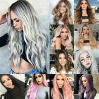 Fashion Women Long Natural Wavy Wigs Black Synthetic Curly Hair Cosplay Wig USA