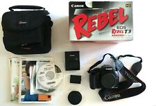 Canon EOS Rebel T3 DSLR Camera (Body Only) w/ Charger, Battery, Case, Manuals
