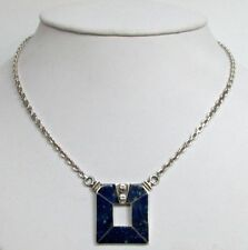 MODERNISTIC STERLING SILVER & LAPIS LAZULI NECKLACE