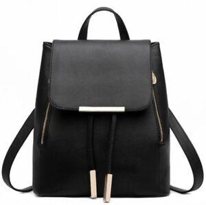 Leather Korean Fashion Travel School Bag Backpack with Phone Pocket, Black
