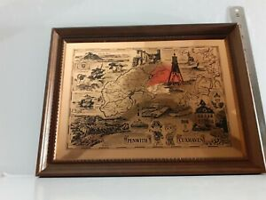 Vintage 1980s 1990s Penwith Cuxhaven Penzance Twinning Cornwall Copper Etching