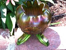 Northwood Carnival Glass Green Rose Bowl Daisy & Plume Pattern Rayed Interior