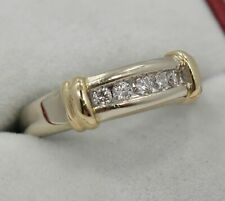 Diamond Channel Set Wedding Band ~Size 10 Unisex ~ 14K Two-Tone Gold ~ 1/4 Carat