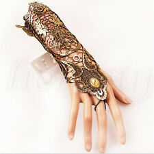 Vintage Women Long Bracelet Ring Wedding Party Lace Gothic Slave Hand Glove New