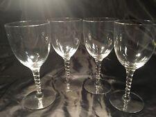 Lot of 4 CRYSTAL Swirl StemWINE GLASSES , 7'' tall
