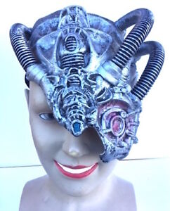 SILVER Latex Cyborg Face Mask Fancy Dress Robot Steampunk Android Alien