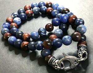 BLACKJACK Men's Beaded Necklace SODALITE RED TIGER EYE Pirates Skulls/Crossbones