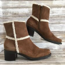 Markon Donald 9.5M Brown Suede Ankle Boot Round Toe Block Heel Womens