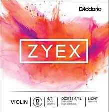 D'Addario Zyex Violin Single Silver D String, 4/4 Scale, Light Tension