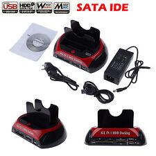 "Double Dock 2.5"" 3.5"" SATA IDE HDD Disque Dur USB ESATA Card Reader SD XD CF MS"
