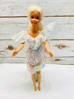 "MATTEL BARBIE Doll Blonde Hair Blue Eyes White & Pink Dress 12"" Tall Free Ship"
