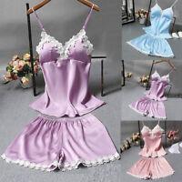 2PCS Women Satin Lingerie Bodydoll Nightdress Nightgown Sleepwear Underwear Set