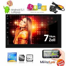 "7"" Double 2Din Android 5.1 Quad Core Car Stereo GPS Player Radio 3G Wifi +Camera"