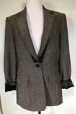 ELIE TAHARI Nubby Silk Blazer Jacket Gray Black satin lined Size 8  $398
