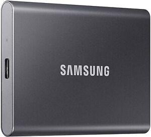 SAMSUNG T7 Portable SSD 500GB - Up to 1050MB/s - USB 3.2 (MU-PC500T/AM) -Gray