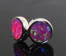 Pink Australian Fire Opal Inlay 925 Sterling Silver Post Stud Earrings 8mm Round