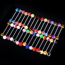 Fashion 30pcs Steel Mixed Colors Tounge Rings Ball Barbell Tongue Piercing  ddgr