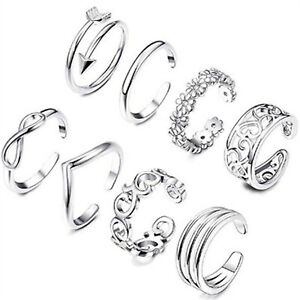 8Pcs/Set Jewelry Silver/Gold/Rose Gold Toe Rings Women Rings Gifts S06
