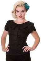 Banned Retro 50s Rockabilly Vintage Collar Shirt Blouse Top 8 10 12 14 16 Black