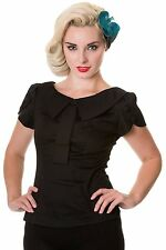 Banned Retro 50s Rockabilly Vintage Peter Pan Collar Shirt Blouse Top Black
