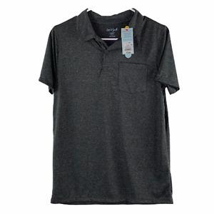 Cat & Jack Boys Gray Short Sleeve Wicking Knit Polo Shirt Husky Size L 12 / 14