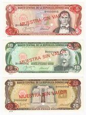 REP. Dominicana 5, 10 e 20 PESOS SPECIMEN banconote-P.118s3 a P.1120s3 - unc.