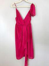 NWT ALICE + OLIVIA 100% Silk Dress Magenta Tiered Draped SZ 2