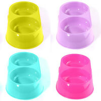 EE_ AM_ Pet Dog Cat Plastic Food Water Dish Feeder Double Dispenser Bowl Nonslip