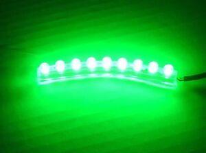 Green 9 LED FLEXIBLE STRIP MOTORCYCLE/CAR POD LIGHT 12V