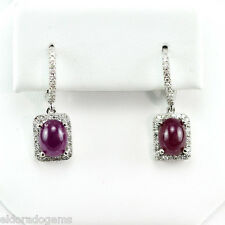 4.14 CT. CABOCHON OVAL RUBY 1.00 CT. HALO DESIGN DIAMOND EARRINGS 14K WHITE GOLD