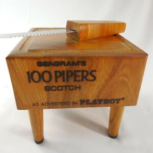 Playboy Seagram's 100 Pipers Scotch Wood Block Cutting Board Vintage Knife & Box