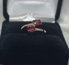Glamour 1.36ct Naturale Africano Rubino & 6 Vs Diamante Vero 10K Oro Giallo