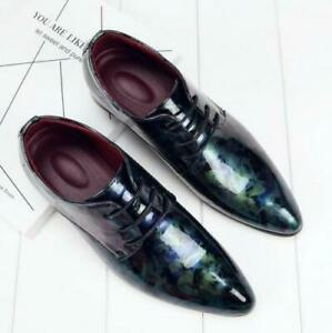 Mens Lace Up Patent Leather Wedding Formal Shoes Casual oxford Printed Pumps Sz