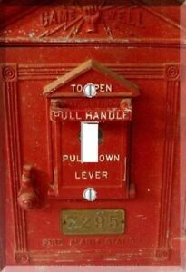 Vtg Red Fire Alarm Box Fire Pull Call Box Light Switch Plate Wall Cover Outlet