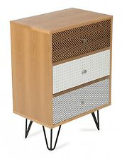 'CASA UNO' NEW Freja Retro 3 Draw Bedside Table with Iron Legs  RRP $409.00