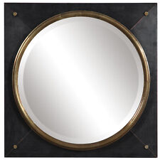 """Luxe Copper Bronze Rustic Square Wall Mirror 
