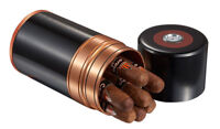 Metal 7 Cigar Travel Humidor Case 60 Ring Gauge Humidor Hygrometer Black Copper