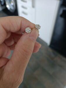 Platinum 950 ILLiana Diamond Cluster Earrings Screwback 0.50tcw 2 photos added