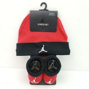 Nike Air Jordan Infant Newborn Baby Size 0-6 Months Red Booties Beanie 2 Pc Set
