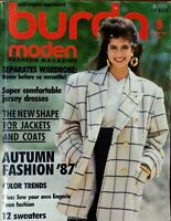 Vintage Burda Moden Style Magazine English Supplement Patterns September 1987