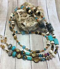Handmade Stone Eyeglass Necklace Chain/Lanyard/W/Swarovski Elements USA