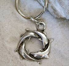 DOLPHIN CIRCLE SURFER SILVER Pewter KEYCHAIN Key Ring