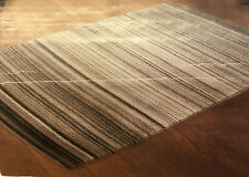 Grey Stripe Rug Super Soft Natural Shade Heatset Pile 110cm x 160cm