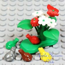 NEW Lego Minifig LILY PAD Green Plant w/Red Beetle Butterfly Flower Yellow Frog